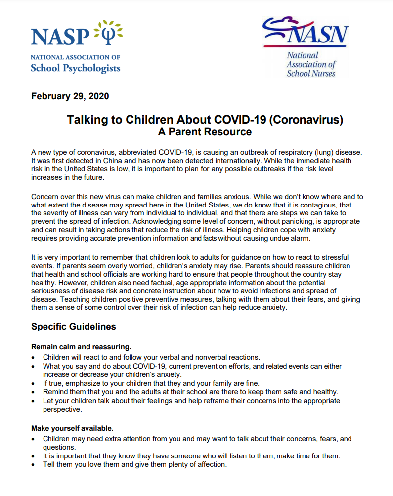 Talking to children about COVID-19 letter
